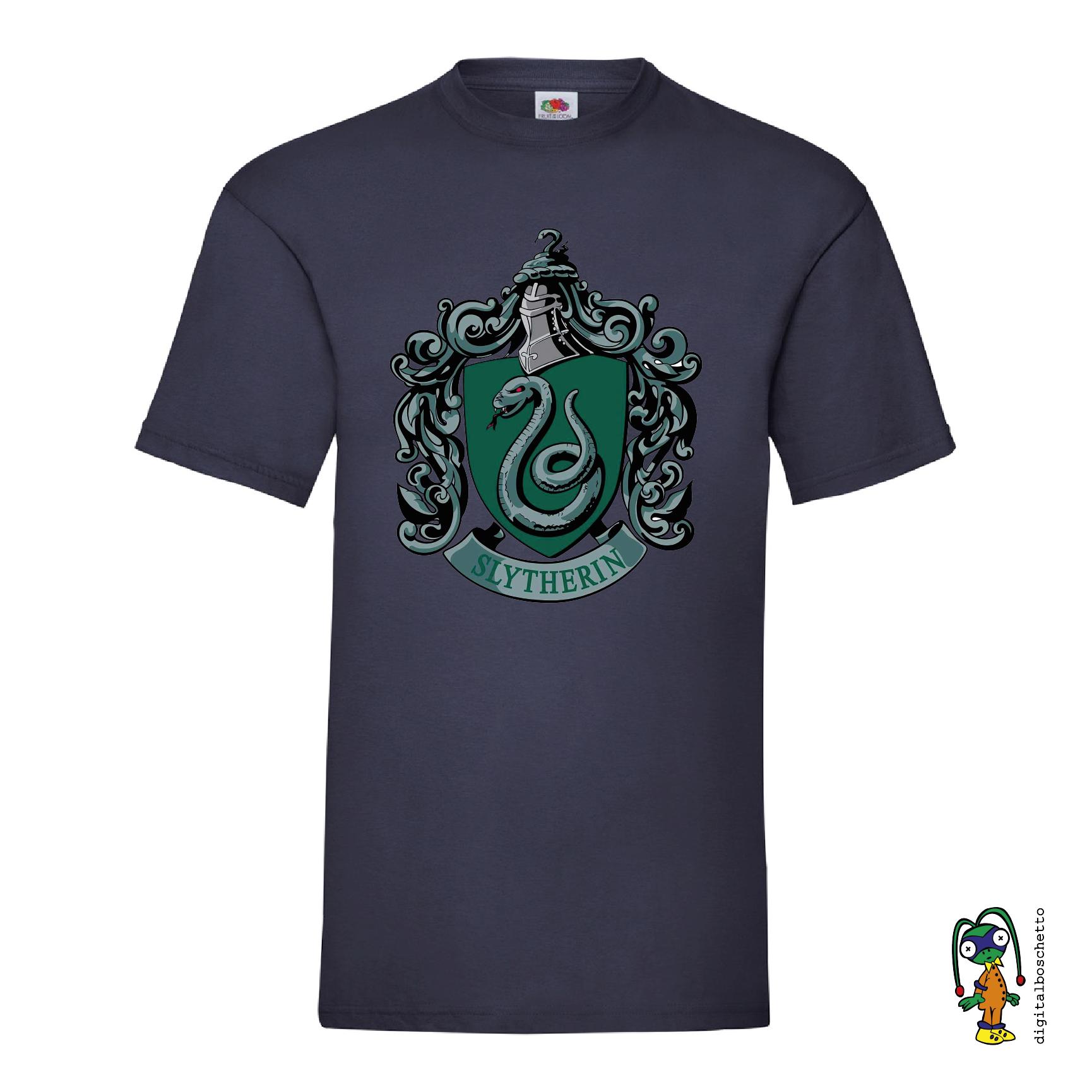 Maglietta da Uomo Harry Potter T-Shirt Serpeverde Cotone Verde Nero